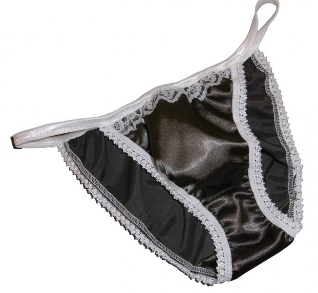 Slate Grey and Ivory Tanga Panties