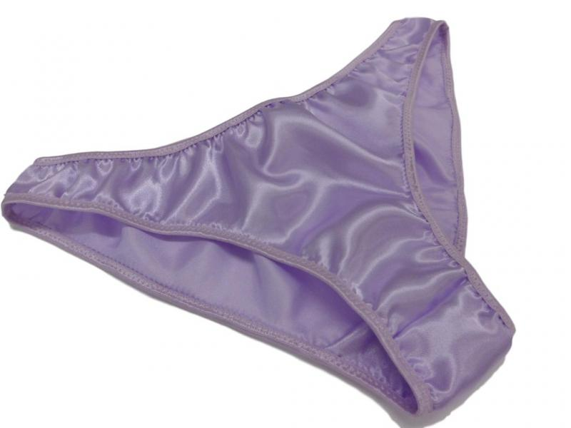 Lilac satin plain & simple bikini briefs