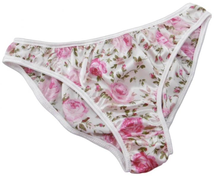 Pink Rose Floral satin plain & simple bikini bri...