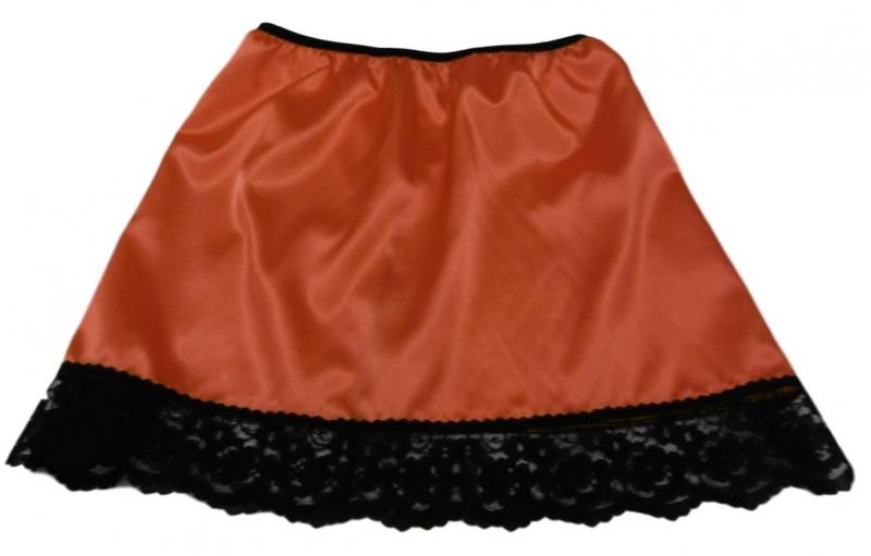 Halloween pumpkin orange satin and black lace half slip