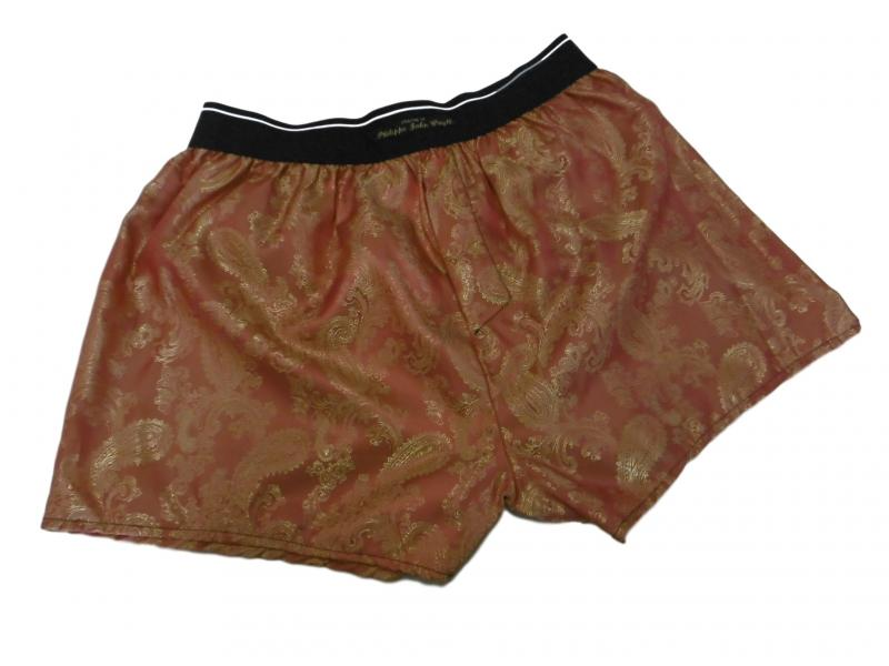 Orange and coral Pure silk paisley Classic style Boxer shorts
