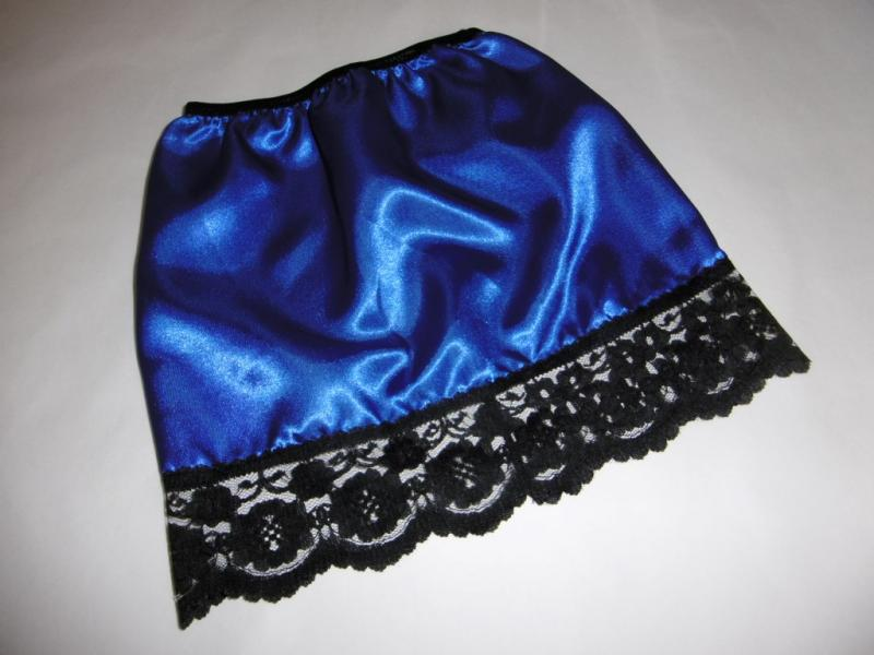 Royal Blue satin and black lace half slip