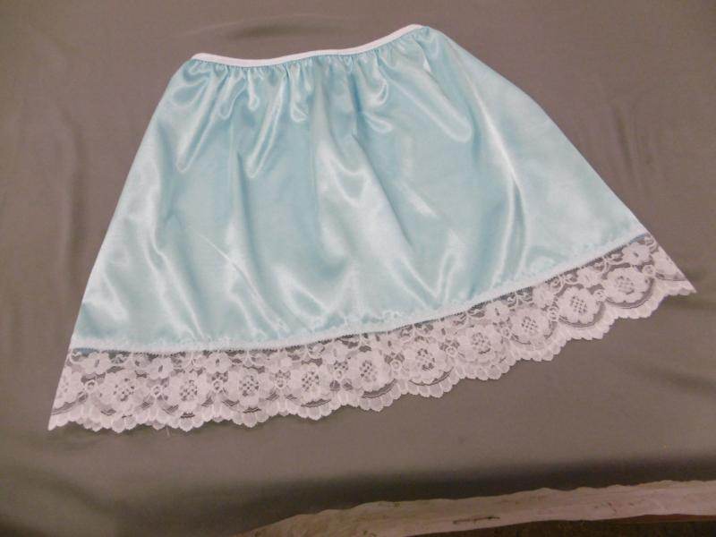 Pale Blue and White lace half slip