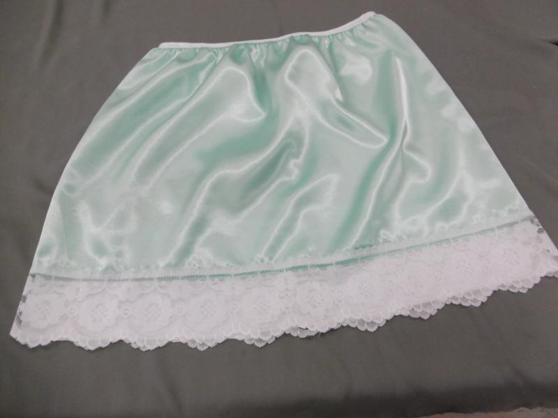 Aqua Blue Green and White lace half slip