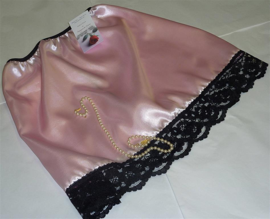 Pale pink satin and black lace half slip