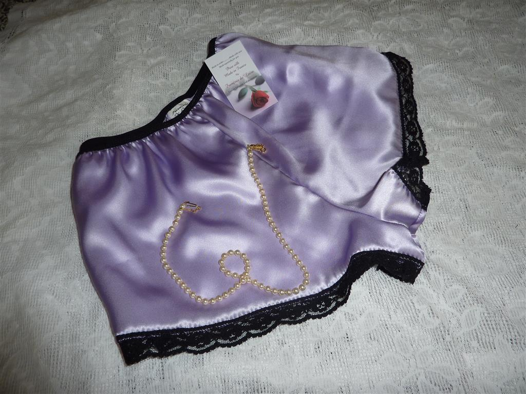 Lilac satin black lace Classic French knickers