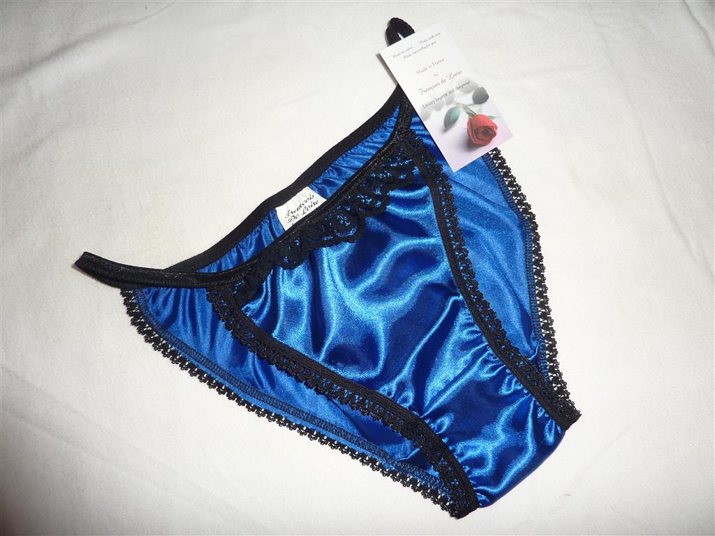 Royal Blue and black Tanga Panties