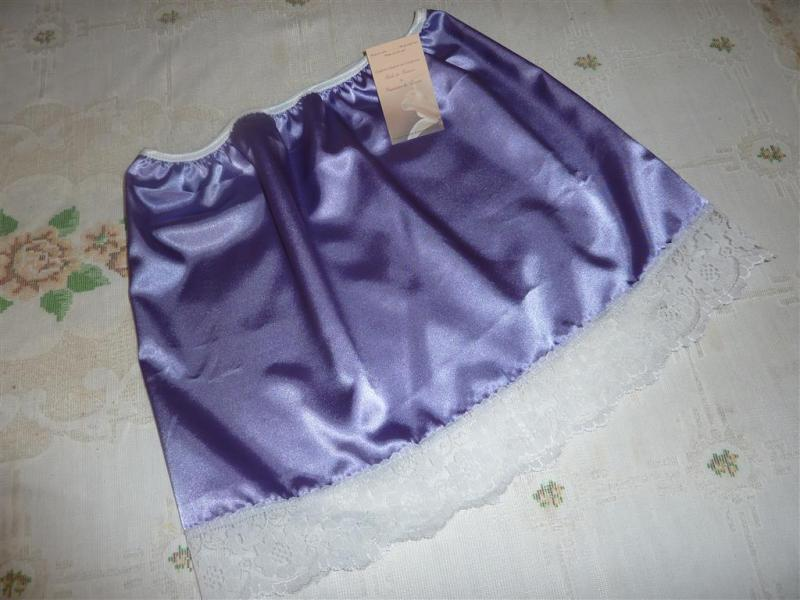Lilac satin and white lace half slip