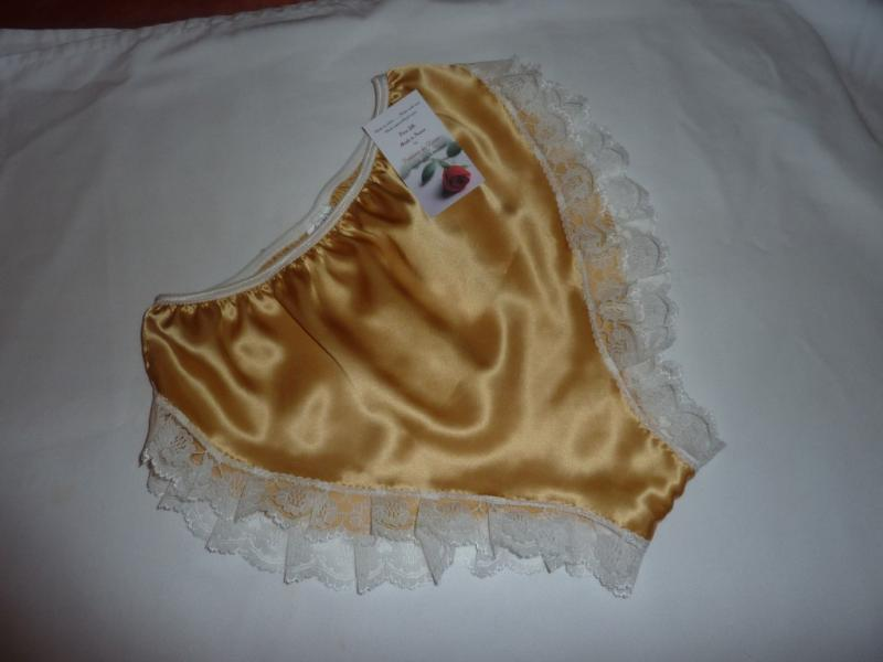 Gold satin and ivory lace  Hi cut French knickers