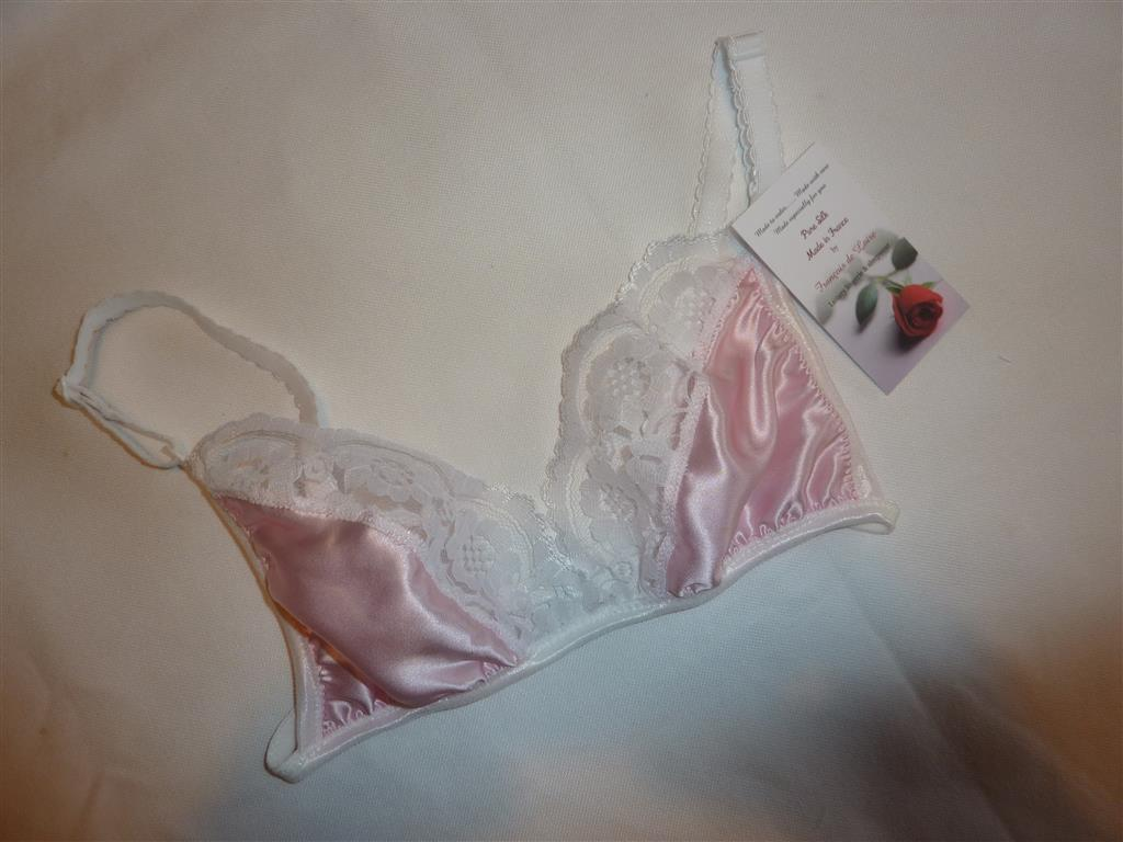 Pale Pink Satin and White Lace Bra