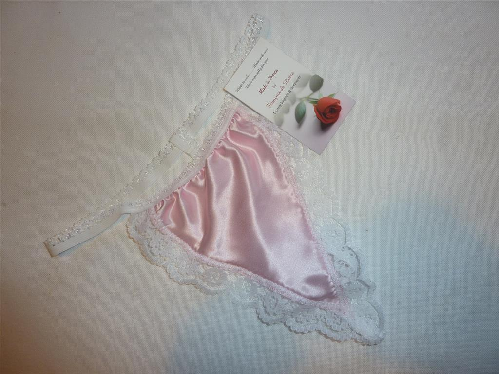 Pale Pink satin G string