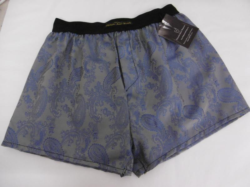 Royal Blue & silver Pure silk paisley Classic style Boxer shorts