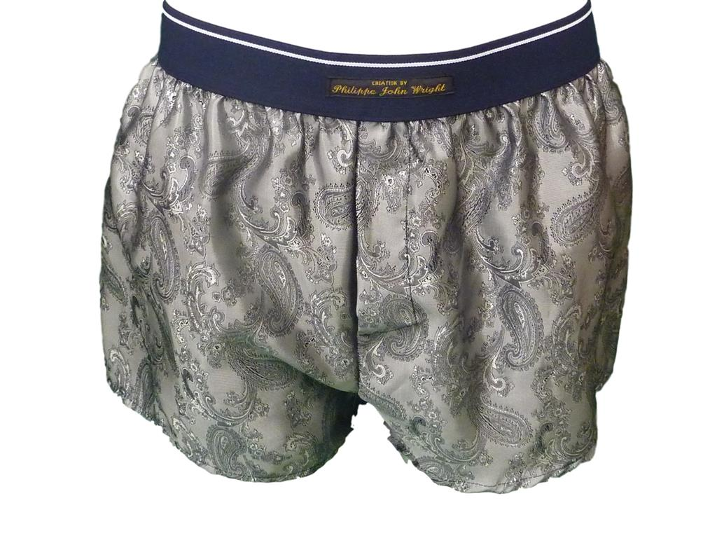 Silver Pure silk paisley Classic style Boxer shorts
