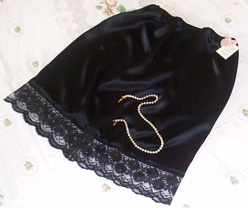 Black satin and black lace half slip