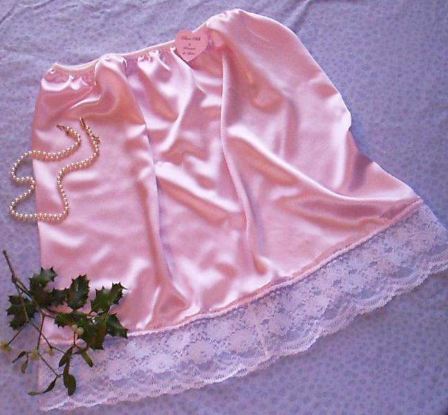 Pale Pink satin and white lace half slip