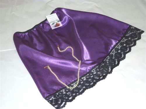 Purple satin and black lace half slip